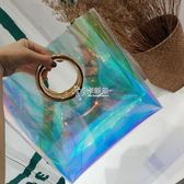 包包新款女包鐳射包透明包果凍圓環包百搭大容量手提包潮  卡菲婭