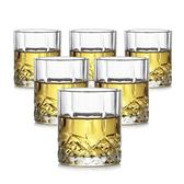 六只裝無鉛加厚家用玻璃水杯子威士忌杯鑽石啤酒杯套裝烈酒洋酒杯【全館89折低價促銷】