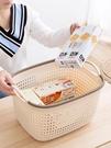 收纳篮 籃子塑料收納筐 桌面各種儲物神器仿藤編塑料筐整理筐零食置物框【快速出貨國慶八折】