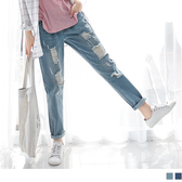 《BA2465》刷破造型點點口袋水洗寬鬆男友風牛仔褲.2色 OrangeBear