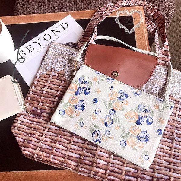 《花花創意会社》外流。英國碎花柄白色小手提包【H6620】