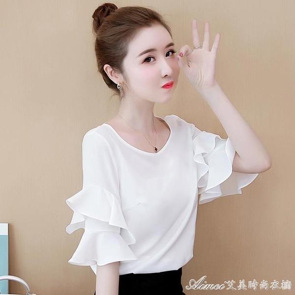 雪紡襯衫雪紡襯衫短袖女裝夏季新款洋氣上衣韓版寬鬆遮肚子甜美超仙 快速出貨