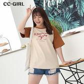 中大尺碼 撞色袖印花T恤上衣~共兩色 - 適XL~4L《 66470K 》CC-GIRL