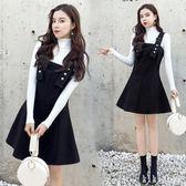 中大尺碼兩件式洋裝 2019春季新款韓版毛呢套裝連身裙女中長款背帶裙 DR10965【KIKIKOKO】