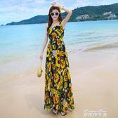 夏季新品女裝顯瘦吊帶雪紡洋裝波西米亞長裙海灘海邊度假沙灘裙  麥琪精品屋
