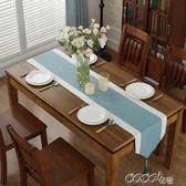 桌巾 新中式禪意純色桌旗現代簡約棉麻床尾電視櫃蓋巾長條餐席茶幾台布 coco衣巷