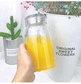簡約大容量玻璃杯便攜加厚男女學生透明水瓶單層帶蓋檸檬隨行水杯【免運】