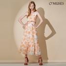 OMUSES 布蕾絲印花刺繡橘色長洋裝...
