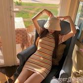 針織洋裝夏裝韓版泫雅風彩虹條紋短袖針織連身裙女顯瘦修身性感包臀短裙子 熱賣 suger