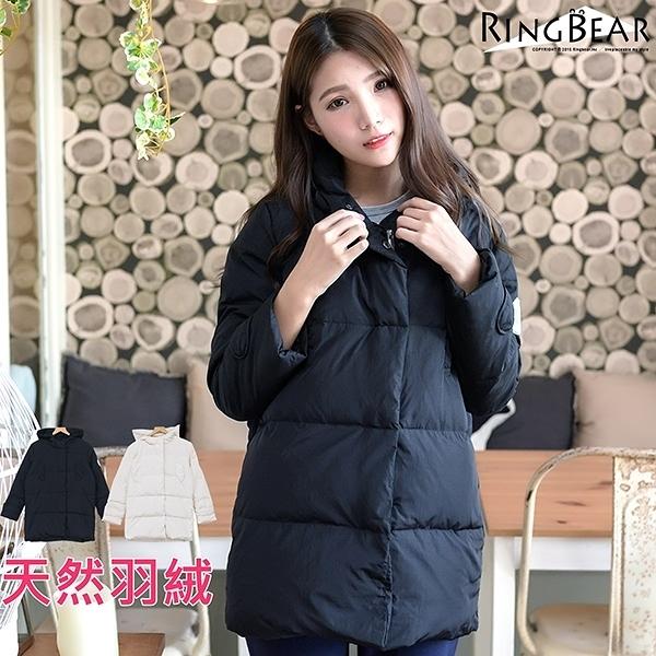 鋪棉外套--俐落保暖禦寒防風立領連帽徽章雙口袋羽絨外套(白.黑L-4L)-J299眼圈熊中大尺碼