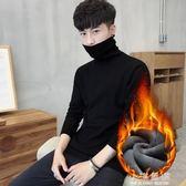 男士打底衫高領毛衣純色針織衫長袖韓版冬季加絨加厚線衫男裝『艾麗花園』