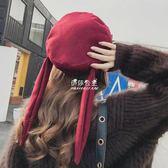 日繫軟妹帽子女冬兔耳朵甜美可愛李白帽百搭韓版貝雷帽  伊莎公主