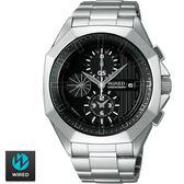 WIRED SEIKO副牌 特殊切割多角型外框三眼鋼錶 7T92-X228D AF8Q67X 公司貨 | 名人鐘錶