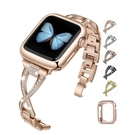 Jfdragon 金屬錶帶 適用 Apple Watch 38/40mm 系列 黑/金/銀/銅/玫瑰金 Bling Diamond [9美國直購]
