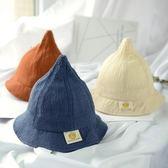 韓版兒童帽子春夏1-3歲男童純色棉麻遮陽漁夫帽女寶寶百搭薄盆帽 美芭