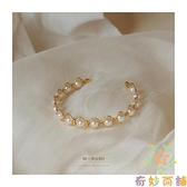 手鐲女18K金手鏈女原創設計高級簡約氣質珍珠【奇妙商鋪】