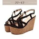 大尺碼女鞋小尺碼女鞋牛皮綁帶軟木舒適楔型鞋厚底涼拖鞋女鞋黑色(30-43)