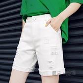 五分褲女寬鬆夏季薄高腰新款直筒破洞牛仔短褲韓版外穿中褲潮 萬聖節