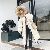 鋪棉外套 韓版連帽大毛領中長款過膝純色