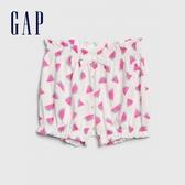 Gap女嬰棉質舒適童趣休閒短褲580452-西瓜紅色