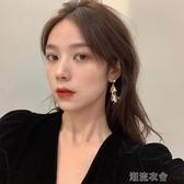 秋天的落葉 金屬質感耳環女氣質長款韓國鑲鑽溫柔珍珠耳夾R355  潮流衣館