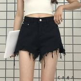 韓版高腰顯瘦毛邊個性牛仔短褲