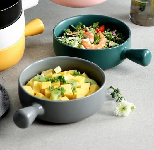 水果盤 北歐烘培盤帶手柄烤箱專用陶瓷盤子創意早餐焗飯盤水果沙拉盤家用  維多