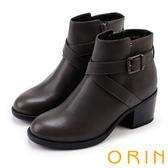 ORIN 個性帥氣 交叉皮帶牛皮工程踝靴-灰色