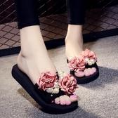 休閒厚底涼拖鞋 平底防滑一字拖鞋 花朵沙灘鞋《小師妹》sm941