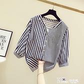 豎條紋格子襯衣女2021春季新款韓版寬鬆套頭V領七分袖襯衫上衣潮