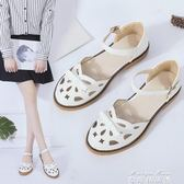 涼鞋夏季中跟一字扣帶蝴蝶結包頭鏤空女鞋韓版百搭學生    麥琪精品屋