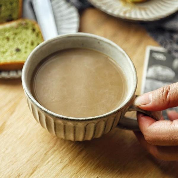 復古粗陶水杯馬克杯杯子拉花杯拿鐵大口甜品杯咖啡杯【輕奢時代】