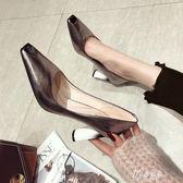 高跟鞋 粗跟春季新款百搭網紅法式少女學生高跟鞋粗跟尖頭性感銀色單鞋夏伊芙莎