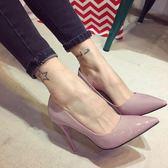 單鞋女紅色婚鞋漆皮裸色大尺碼鞋