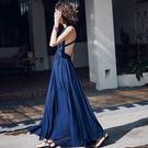 VK精品服飾 韓國風名媛復古V領性感露背波西米亞長裙無袖洋裝