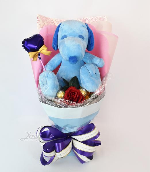 藍色史努比 情人節金莎花束,客製化/情人節花束/畢業花束/禮物,節慶王【Y573456】