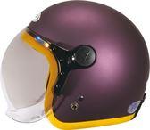 【東門城】ZEUS ZS382C 素(銀紫/黃邊) 飛行帽 泡泡鏡  復古安全帽