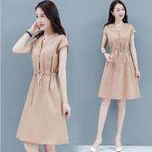 棉麻洋裝 棉麻連身裙女2020年夏天新款氣質連身裙女神范收腰收身顯瘦中長裙 限時82折