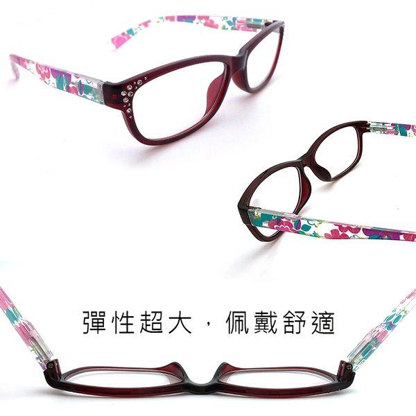 抗藍光老花眼鏡 鑲鑽花色膠框 標準局檢驗合格 高硬度耐磨鏡片 配戴不暈眩【2053】