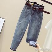 牛仔褲女年夏季新款高腰顯瘦破洞蘿卜褲寬鬆秋裝直筒老爹褲子