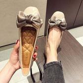 韓版蝴蝶結平跟淺口漆皮女鞋2018新款休閒百搭大碼單鞋方頭平底鞋