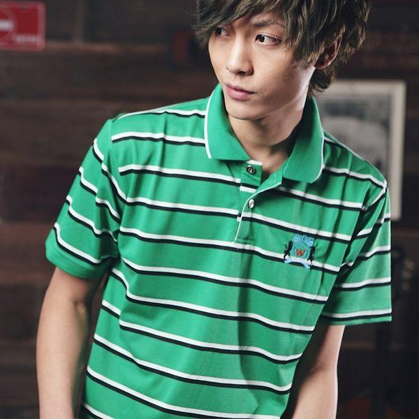 【男人幫】P0187*型男穿搭橫條短袖POLO衫 網眼POLO衫情侶裝條紋
