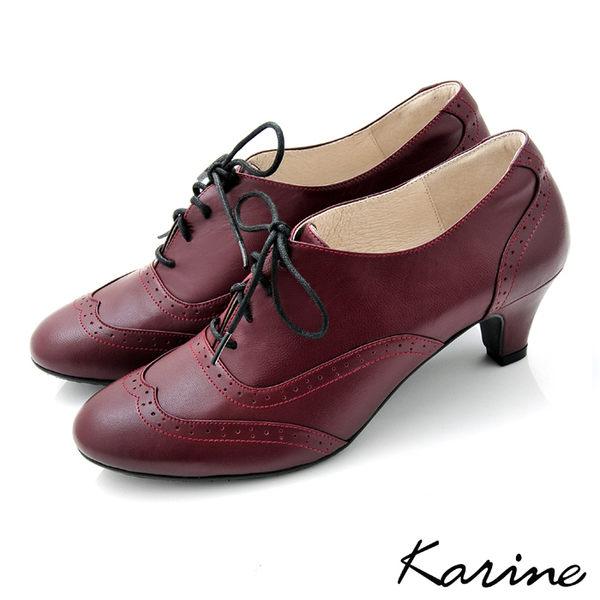 全真皮復舊牛津低跟踝靴-馬丁紅‧MIT台灣製‧karine