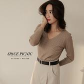針織 長袖 Space Picnic|V領麻花針織上衣-7色(預購)【C21082005】