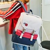 防潑水雙肩包女新款韓版撞色中學生書包校園百搭背包電腦包潮 居享優品