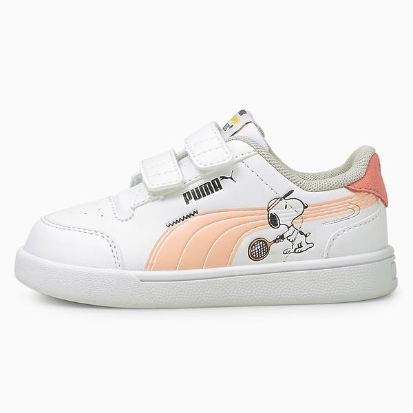 PUMA x PEANUTS Shuffle 童鞋 小童 休閒 史努比 聯名系列 魔鬼氈 白 粉【運動世界】37574102