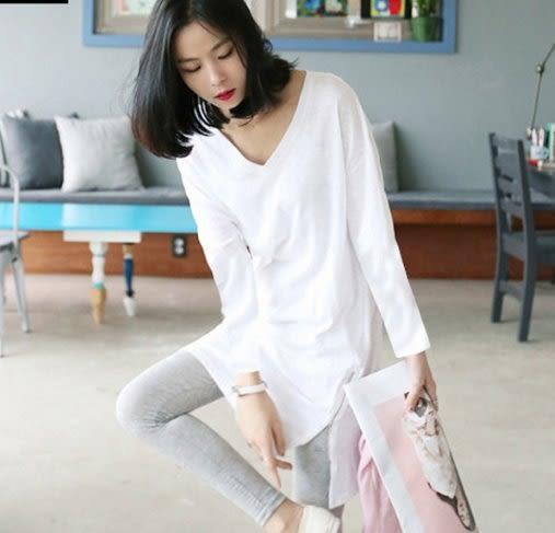 韓國韓系韓范S-XL/秋季新款女裝竹節棉韓範中長款寬鬆純棉長袖T恤上衣T305.6621胖胖唯依