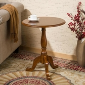 實木小圓桌美式沙發邊桌歐式簡約圓茶幾小茶幾邊幾角幾咖啡電話桌