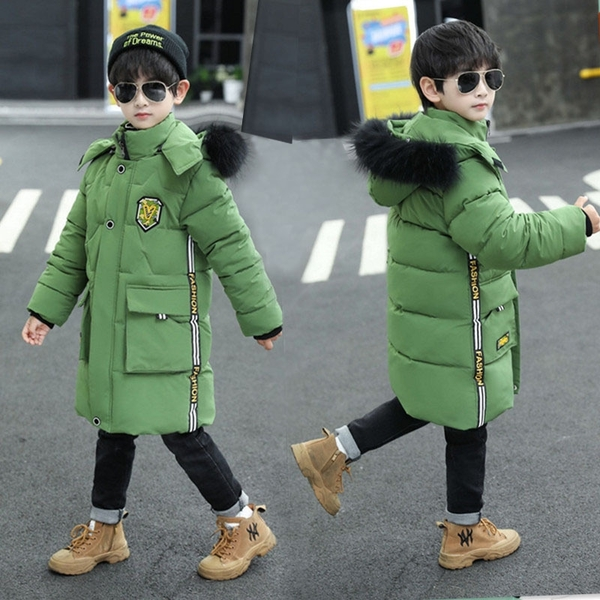 兒童棉服加絨加厚夾克外套 男童外套羽絨外套男孩 棉襖秋冬男寶寶棉衣 中長款中大童韓版外套