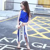 新款女童夏裝時尚中大兒童時髦超洋氣潮衣套裝女孩雪紡兩件套